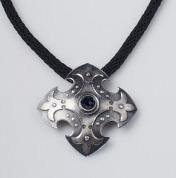 Fleur di lis Cross Shield Necklace
