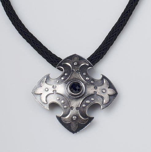 N530 Fleur di lis Cross Shield Necklace (SOLD)