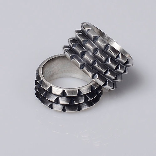R41 Rusticated Ring (3 row - pictured at bottom)