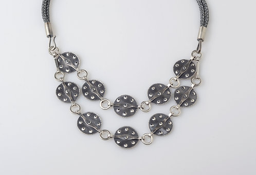 N155 Two Tiered Riveted Disc Necklace