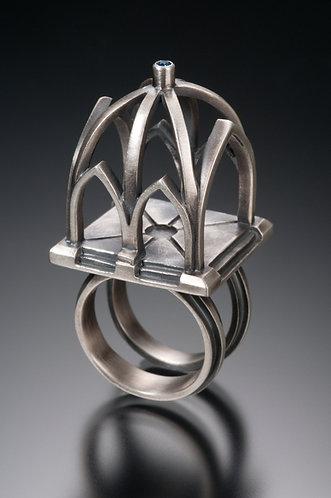 R110 Gothic Rib Vault Ring w/ bezel set Saphire