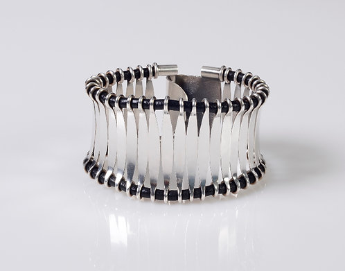 B20 Forged Silver and Leather Cuff Bracelet