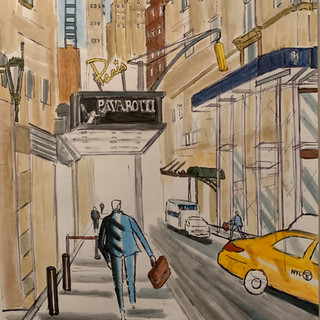 Paris Theatre, Watercolor, $3000