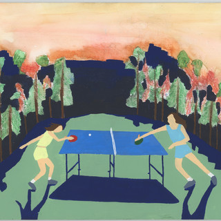 """Ping pong in a meadow next to a forest, gouche,  watercolor, color pencil, 8 x 10"""" $200"""