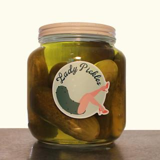 Lady Pickes, pickles, glass jar, logo, 2018, $125