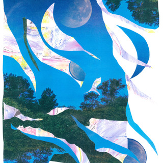 """When We Danced by the Light of the Moon, Collage, Mixed Media, 14"""" x 17"""", 2020, $350"""