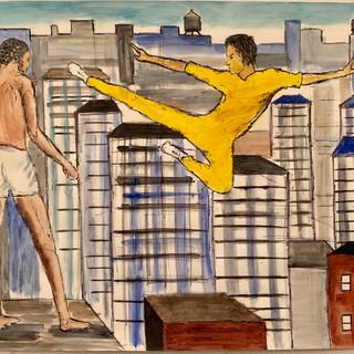 Bruce Lee and Kareem Rooftop Duel, Watercolor, $2500