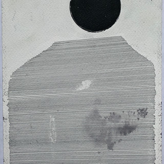 """The Front 9/11, 2020 gesso, acrylic, pen, water and staple on watercolor paper 10"""" x 7"""""""
