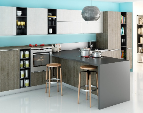 Пример интерьера кухни в стиле модерн, не требующего больших пространств для исполнения