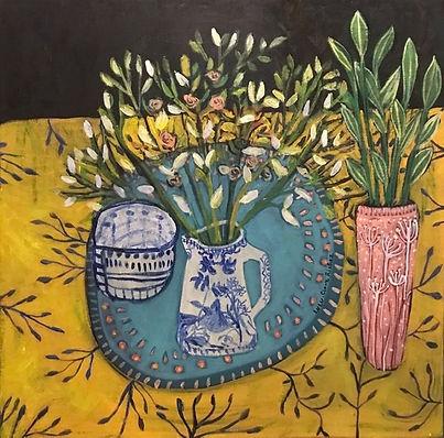Carré jaune et vase 40-40.jpg