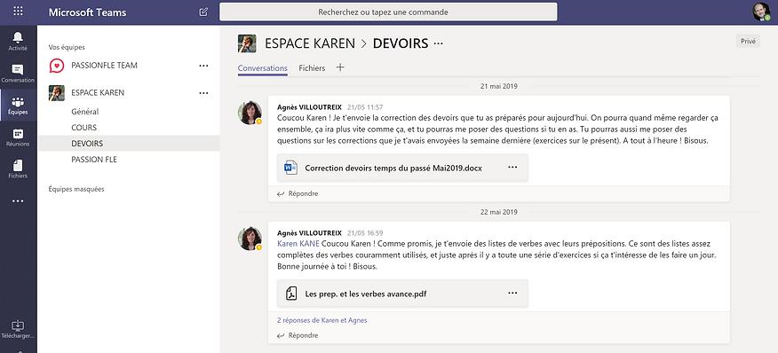 platefome digitale Teams Microsoft Passion FLE mur conversation