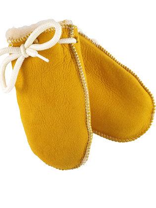 Lammeskinnsvotter napplan med lammepels uten tommel baby - gul