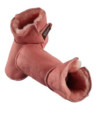 """Baby lammeskinnstøfler """"Boots"""" med lammepels - rosa"""