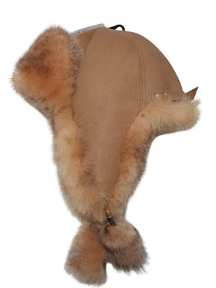Røros lammeskinnslue med Toscana lammepels - kamel