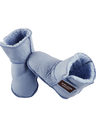 "Baby lammeskinnstøfler ""Boots"" med lammepels -lyseblå"