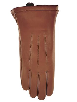 Lammeskinnshansker med strikket ullfôr og touch dame - brun