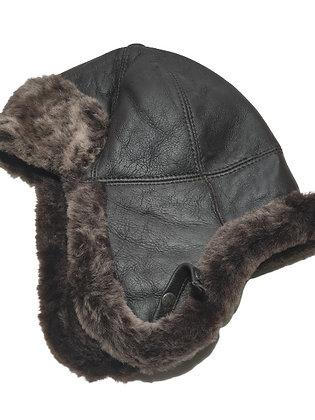 Trooper lammeskinnslue napplan med lammepels - mørkebrun