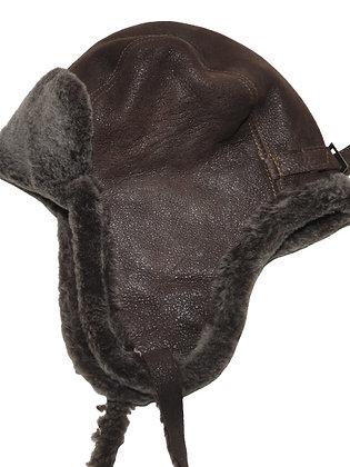 Trooper lammeskinnslue semsket med lammepels - mørkebrun