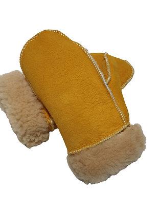 Lammeskinnsvotter semsket med lammepels barn - gul