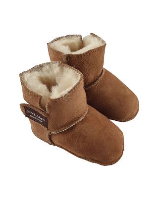 "Baby lammeskinnstøfler ""Boots"" med lammepels - kamel"