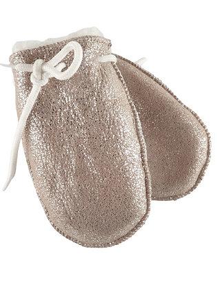 Semskede lammeskinnsvotter med lammepels uten tommel baby - sølv