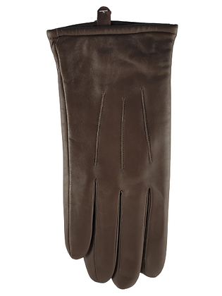 Lammeskinnshansker med strikket ullfôr og touch herre - mørkebrun