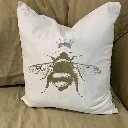 LARGE BUMBLE BEE WITH CROWN PILLOW WITH FEATHER INSERT