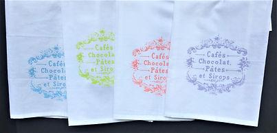 PARISIAN CAFE'S TEA TOWELS BLUE, LIME, SALMON, LAVENDER  