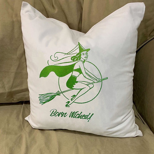 BORN WICKED WITCH PILLOW WITH FEATHER INSERT