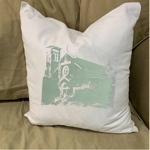 OUR LADY OF THE LAKE CHURCH PILLOW WITH FEATHER INSERT