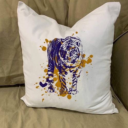 TIGER WITH SPLATTER PILLOW WITH FEATHER INSERT