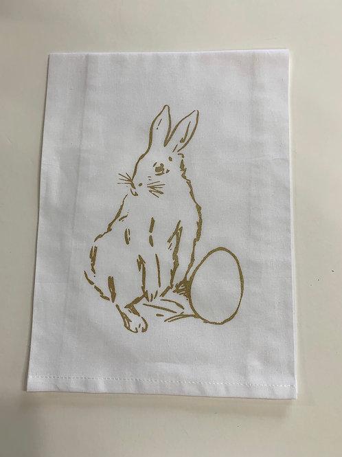 Standing Bunny with Egg Tea Towel