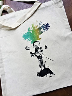 """CRY BABY"" VOODOO DOLL TOTE PURPLE, GREEN, GOLD, & BLACK"