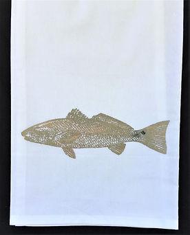 RED FISH TEA TOWEL COPPER