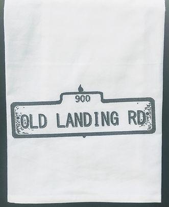 OLD LANDING RD. STREET SIGN TEA TOWEL METALLIC GREY