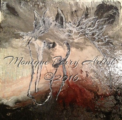 Mystical Horse acrylic poured paint by Monique Perry