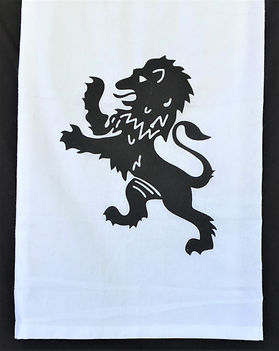 RAMPANT LION TEA TOWEL BLACK