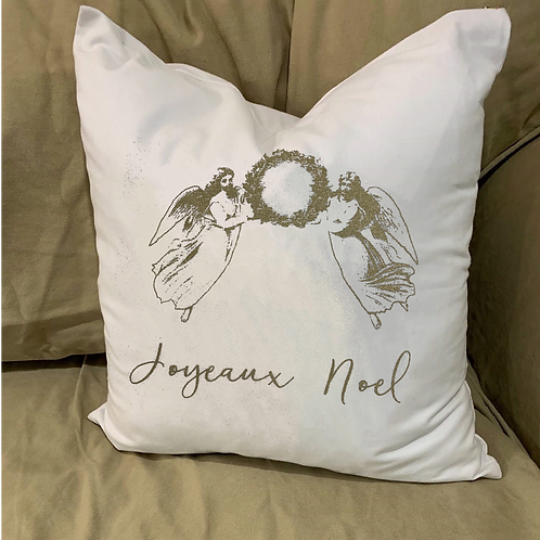 JOYEAUX NOEL ANGELS PILLOW WITH FEATHER INSERT