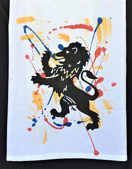 RAMPANT LION WITH BACKGROUND TEA TOWEL RED YELLOW BLUE BLACK