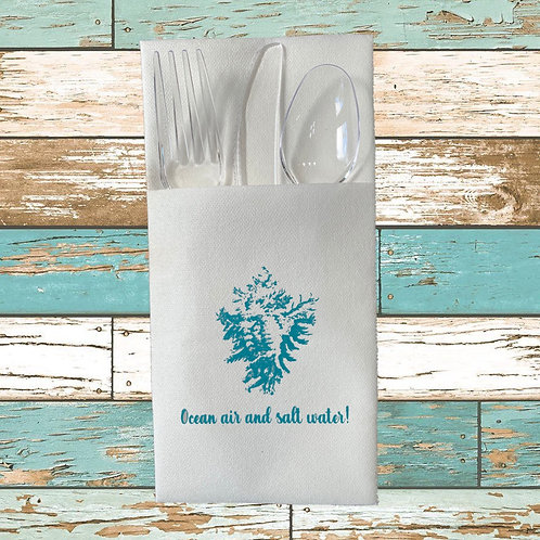 OCEAN AIR AND SALT WATER DISPOSABLE CUTLERY POUCHES  Pack of 12
