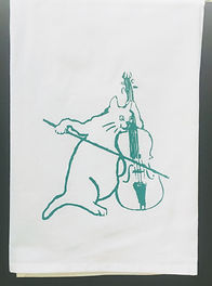THE CAT AND THE FIDDLE TEA TOWEL / BURP CLOTH GREEN