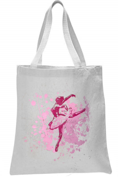 BALLERINA WITH SPLATTER BACKGROUND TOTE BAG
