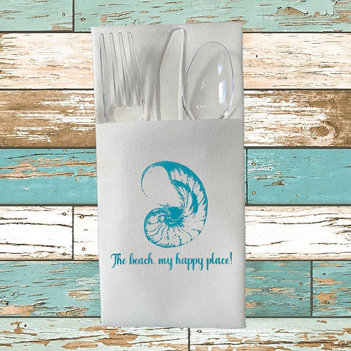 THE BEACH, MY HAPPY PLACE DISPOSABLE CUTLERY POUCHES  Pack of 12