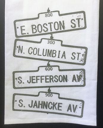 COVINGTON VINTAGE STREET SIGNS TEA TOWEL DARK METALLIC GREY JAHNCKE AV. COLUMBIA ST. BOSTON ST. JEFERSON AV LOUISIANA