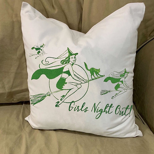 GIRLS NIGHT OUT  WITCHES PILLOW WITH FEATHER INSERT