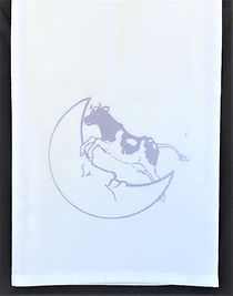 THE COW JUMPED OVER THE MOON TEA TOWEL   BURP CLOTH LAVENDER 