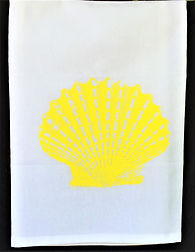 SCALLOP SHELL TEA TOWEL YELLOW