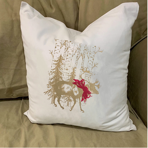 REINDEER IN THE WOODS WITH BOW PILLOW WITH FEATHER INSERT