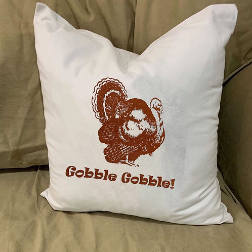 GOBBLE GOBBLE TURKEY PILLOW WITH FEATHER INSERT