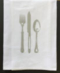 PLACE SETTING  TEA TOWEL SILVER